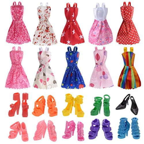 f9aa17c330 Momola Dinglong 10 Styles Doll Dress Party Gown Clothes Outfits With 10  Pairs Doll Shoes for
