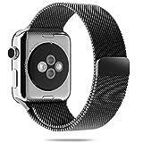 Cinturino Apple Watch, Aerb Milanese Strap Bracciale Loop Stainless Steel Band W unico catenaccio del magnete per Apple Watch 42 mm All Models [No Fibbia necessaria] -42mm - Nero