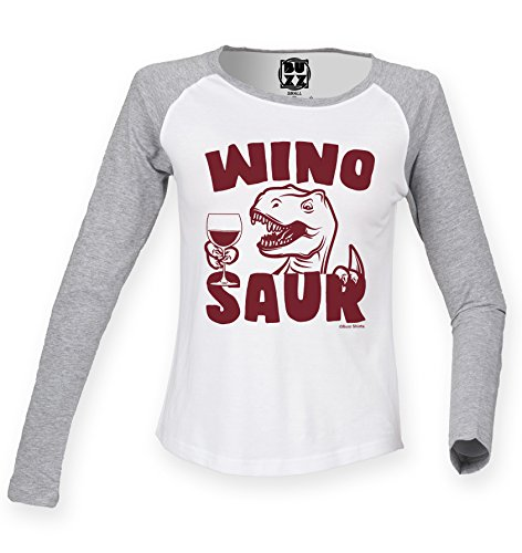 Damen Raglan Baseball T Shirt WINO-SAUR Funny Dinosaur Womens von Buzz Shirts White/Heather grey