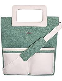 Veuza Berlin Premium Jacquard And Faux Leather Sea Green Women's Tote Bag