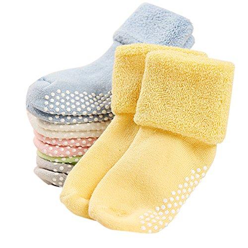 VWU Unisex Baby Mädchen Jungen Socken Anti Rutsch Dick Baumwolle Kleinkind 6er Pack (0-1 Jahre) -