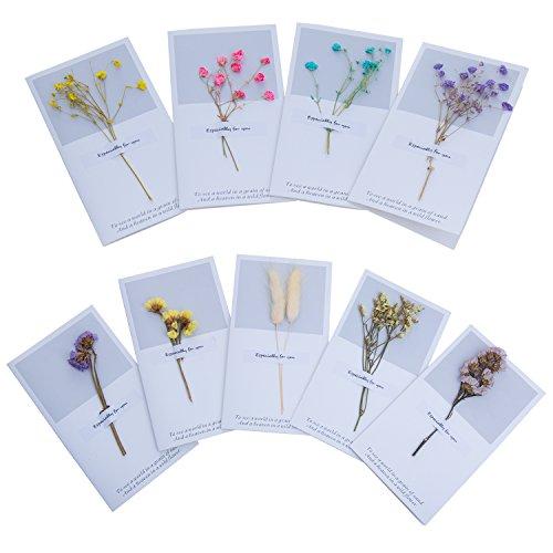 ZeWoo Set von 9 Gruß-Karte, Handgemachte Blumen Verziert Postkarte, mit Wenig Sauberem Frischem Temperament für Spezielle Person und Wichtige Gelegenheit