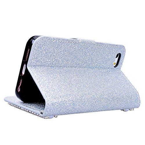 SMART LEGEND Lederhülle für iPhone 6 Plus/iPhone 6S Plus Ledertasche Glitzer Hülle Lila Bling Diamant Schutzhülle mit Kartenfach Handyhülle Premium PU Leder Flip Wallet Case Protective Cover Innere We Silber