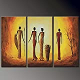 HANHAIBO 3 Panel Handgemalte Acrylbilder Leinwand Kunst Bilder Home Decor Abstrakte Afrikanische Frauen Abbildung Malerei Für Wohnzimmer