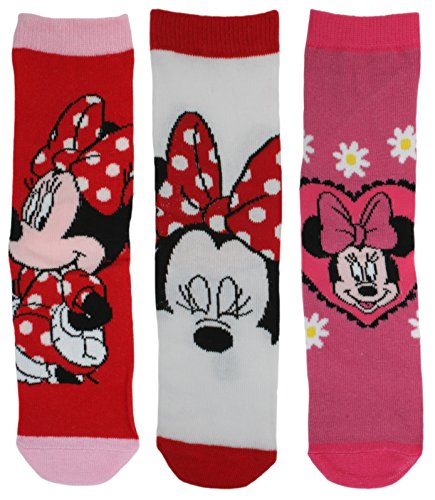 Disney Character 3 Pack Girls Cotton Rich Socks Minnie Mouse