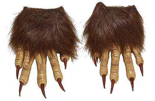 shoperama 2 Werwolf Hände mit Kunstfell und Langen Krallen Finger Nägel Klauen Accessoire Kostüm-Zubehör