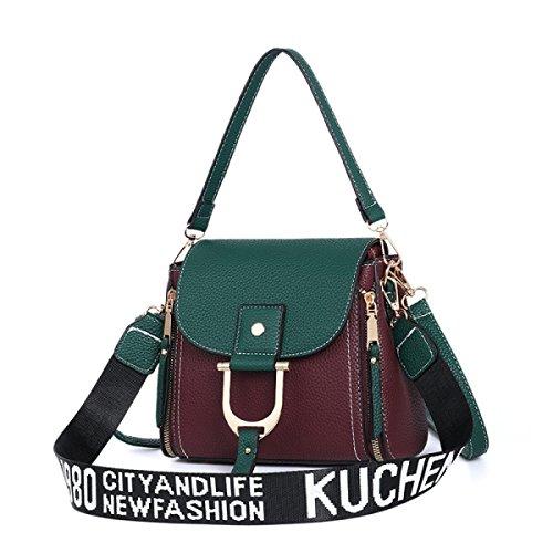 Mode Leder Handtaschen Damen Schultertasche Messenger Bags Totes Für Party Hochzeit Clubs,Green (Griff Handtasche Glatte)
