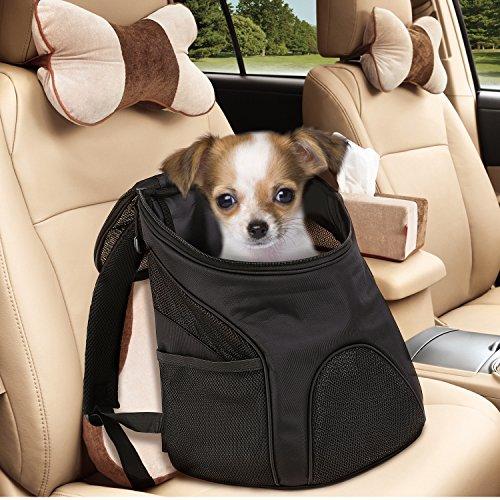 Femor Pet Rücksack atmungsaktive Outdoor-Reise Schultertasche Tragetasche für Hunde, Katzen bis 10kg, Wandern und Shoppen gehen(Schwarz) -