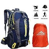 Wanderrucksack Herren Damen 40L Wasserdicht Rucksack Trekkingrucksack Reiserucksack Klettenrucksack mit Regenabdeckung für Outdoor Camping von BLF (Dunkelblau)