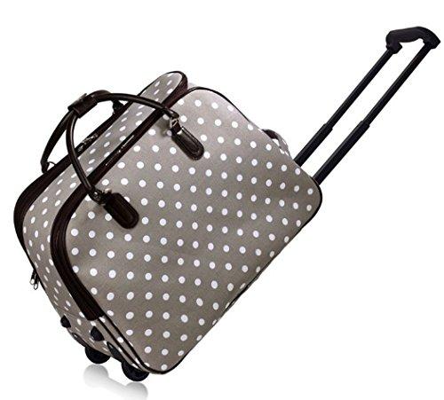 LeahWard Damen-Reisetasche für Mädchen Handgepäck Reise Koffer Urlaub Schultaschen 005 (L GRAU PUNKTE)