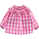 Happy Cherry Impermeable Blusón Babero Babi de Mangas Largas Protección de Ropa Infantil Delantal de Pintura Dibujo para Bebés Niños Niñas