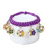Handgewebter Hundehalsband mit Glocke für Ihre niedlichen Haustiere Dekor oder Spiel (lila) 1PC