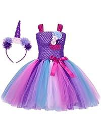 AmzBarley Unicornio Vestidos Princesa Niña Fiesta de Tul Tutu con Encaje de  Flor sin Mangas cd97dda468d1