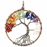 Shanxing Edelstein Chakra Baum des Lebens Anhänger Pendant für Damen Herren
