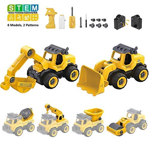 iBaseToy Take Apart Toy Truck for Kids Building Vehicle Toys , 6 in 2 Assembly Toy Truck, DIY Construction Truck with Electric Drill and Motor, Toy Vehicle Assembly Playset for STEM Educational Gifts
