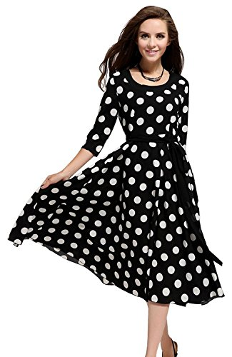 Minetom Donna Elegante Cocktail Party Polka Dot Manica Lunga Sexy Maxi Strap Vestito ( IT 48 (Seno 98-102cm ) )