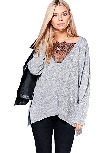 gris Femme Aleesha Plunge Lace Premium Long Sleeve Top Gris