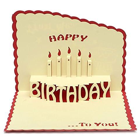 Tutoy Alles Gute Zum Geburtstag 3D Grußkarte Pop Up Geburtstagsfeier Grußkarte Mit Umschlag -Red