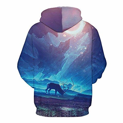 AMOMA Damen digitaldruck Kapuzenpullover Tops Unisex Hoodie Pullover Hooded Sweatshirt Aurora