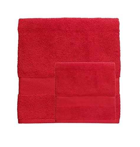 Set spugna coppia 2 pezzi 1+1 ospite 40 x 60 + asciugamano 60 x 110 bassetti pop color asciugamani 100% spugna di puro cotone 500 gr/mq (vermiglio - 3154)