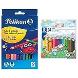 Pelikan Buntstifte 12er dreieckig dick und weich & Staedtler Noris Club 144 NC24 Buntstifte, erhöhte Bruchfestigkeit, sechskant, Set mit 24 brillanten Farben, kindgerecht nach DIN EN71