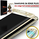 TEFOMATE Verre Trempe S6 Edge Plus, Verre Trempé 3D incurve Protection ecran Tempered Glass Screen Protector pour Samsung Galaxy S6 Edge Plus 5.7' [Curved 3D] (Gold)
