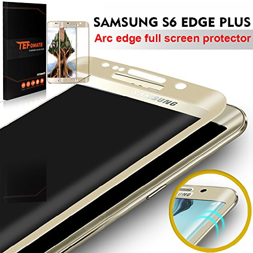 "TEFOMATE Verre Trempe S6 Edge Plus, Verre Trempé 3D incurve Protection ecran Tempered Glass Screen Protector pour Samsung Galaxy S6 Edge Plus 5.7"" [Curved 3D] (Gold)"