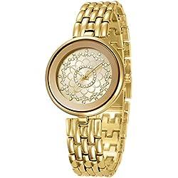 Fashion Luxury Rhinestone Alloy Strap Quartz Women Wrist Watch,Gold