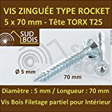 100 Vis Bois 5x70 TORX T25 Zinguée Pointe Anti-Fendage type Rocket