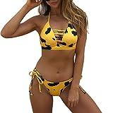 Leopard Print Bikini Strap Split Badeanzug Push-up Gepolsterte Bandage Bademode,S,Gelb
