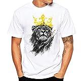Bluse Shirts Herren, Sunday Herren Löwe Druck Tees Shirt Kurzarm T-Shirt Bluse Sweatshirts Basic O-Ausschnitt Shirt Mode 2018 (4XL, Weiß)