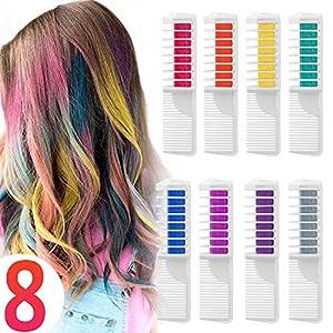 Coloración temporal Cabello Tiza peine cabello tinte cabello, Wolady 8 colores 2 en 1 peine Coloración color de cabello con guantes y chal desechable para niños DIY Cosplay