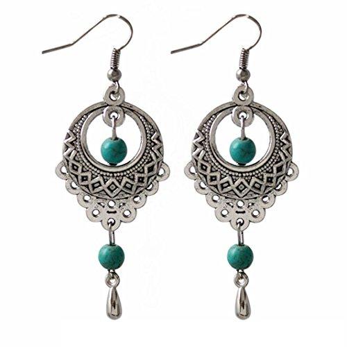 Bijoux Femmes Toamen Boucles d'oreilles Ovale Turquoise Pendantes Argent
