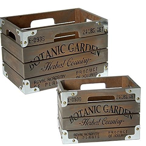 Prie x cette bouche Botanic Garden Set de Boîtes, bois, gris, 20x 30x 20cm