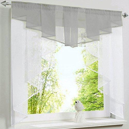 HongYa transparenter Voile Scheibengardine Tunnelzug Kurzstore Küche Kleinfenster Gardine H/B 145/120 cm Grau