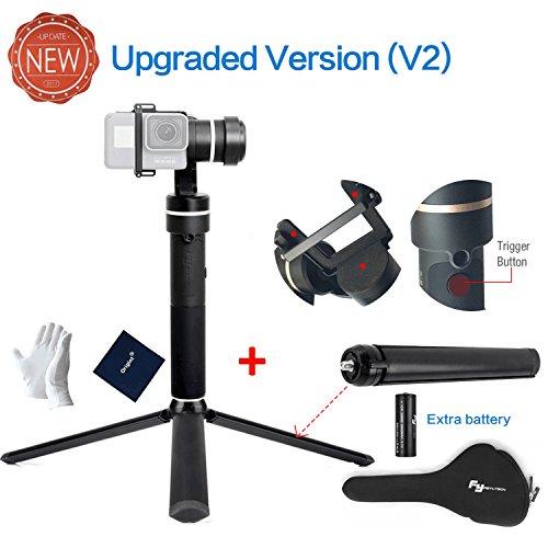 moo&moo Feiyu-Tech G5(Neue Version) 3-Axis Handheld Stabilisator für die GoPro Hero 6/5/4/3 für Yi Cam 4k für AEE und Aktion Kameras vergleichbarer Größe, inklusive Stativ und extra Batterie