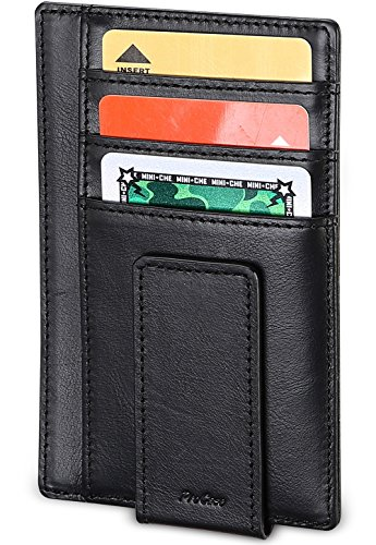 ProCase Echtes Leder Geldklammer Front Taschenmappe, Ultra Slim Magnetic Geld Clip Minimalist Wallet Plus Sichere RFID Blocking Technologie -Schwarz - Clip Pc