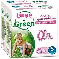 Love & Green - Paquete de 18 pañales hipoalergénicos (talla 5, lote de 2 paquetes)
