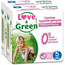 Love & Green - Pack de 18 Culottes Hypoallergéniques -  Taille 5 (12-25 kg)  - Lot de 2