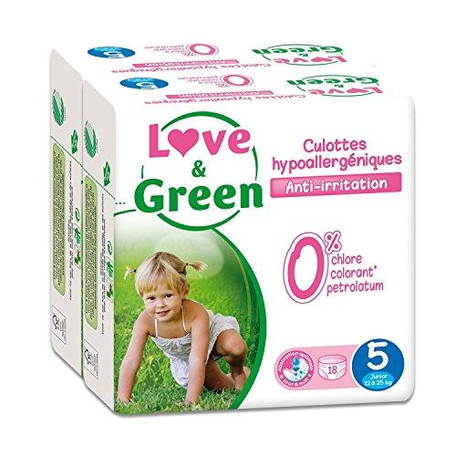 Love & Green – Pack de 18 Culottes Hypoallergéniques –  Taille 5 (12-25 kg)  – Lot de 2