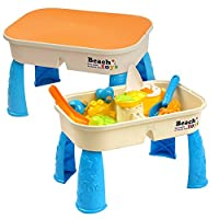 Sand & Water Table with Lid - Includes 8 Beach Toys & Space for Sand & Water - little kids play in garden, outdoor games and activity - Perfect for Hours of Fun