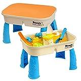 Bramble Sand und Wasserspieltisch mit Deckel + 8X Sandspielzeug für Kinder – Sandkasten Spieltisch, Kinderspieltisch & Sandspieltisch für Sand & Wasser – Sandtisch & Gartentisch für Garten & Outdoor