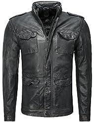 Gipsy Homme Veste en cuir poches extérieures Anthracite