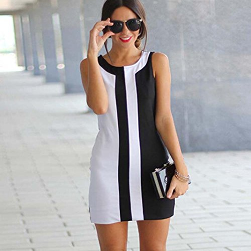 Tonsee Femmes Sexy Été Casual sans manches Cocktail Party Mini robe de soirée Blanc