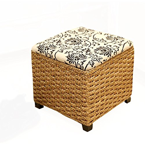 Schlafzimmer Schuhschränke Wohnzimmer Fußhocker Sofas Bänke Rattan Storage Hocker können 330lbs halten ( Color : Gold , Size : 30*30*28cm ) (Schlafzimmer Bänke)