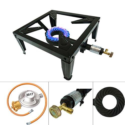 4 Fuss Turbo 10,5 kW Gas Hockerkocher Gasdruckregler Räucherofen Gasbrenner