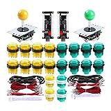 Hikig Kit de Jeux d'arcade pour 2 Joueurs, 20 Boutons à LED + 2 Joystick + 2 encodeurs USB pour PS3, PC, Mame, Raspberry Pi, Couleur: Vert + Jaune
