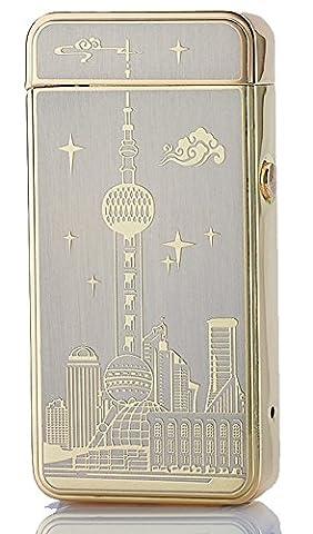 [Best électrique allume cigare] cjoy Arc briquets électronique USB rechargeable sans flamme?Oriental Pearl Landmark Shanghai Chine Souvenir?Anniversaire de Noël Cadeaux - Or