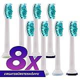 Orax Ersatzbürsten kompatibel mit der elektrischen Zahnbürste Philips Sonicare - 2x4, 8 Stück
