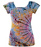 Guru-Shop Batik Hippie T-Shirt, Damen, Hellblau, Synthetisch, Size:38, Tops, T-Shirts, Shirts Alternative Bekleidung